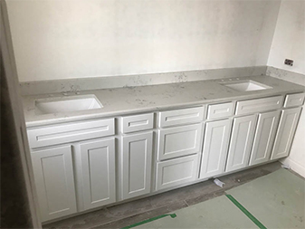 Marble Bathroom Vanity in Palos Hills by Granite Mountain. Come visit us at our showrooms in Bourbonnais or New Lenox, Illinois!