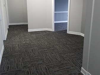 Check out this office remodel job completed by Granite Mountain where we replaced carpet, drywall, trim and painted the office to the customer's specification.